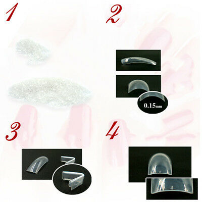 500pcs Natural Transparent Clear French Full Half Acrylic UV Gel False Nail Art