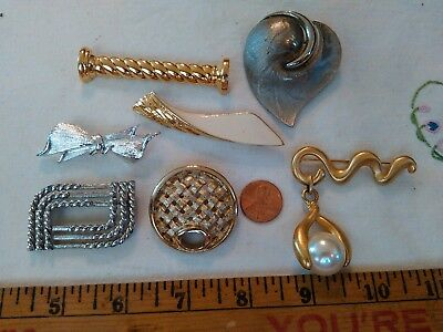Vintage Lot Of 7 Designer Stamped Assorted Brooches, All Very Nice Pins, Jj, Mon