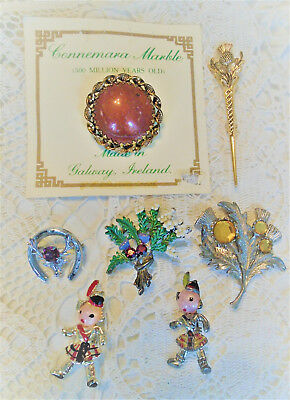 Seven Brooches Pins Gaelic or Celtic Interest