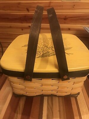 Longaberger 2014 Yellow Cake Basket W Riser And Protector