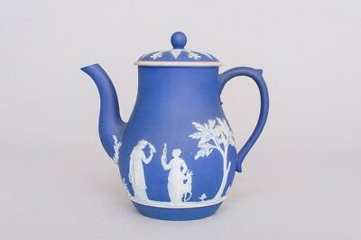 "Antique Wedgwood Jasperware Cream on Royal Blue Coffee Pot with Lid 7.75"" EXLNT!"