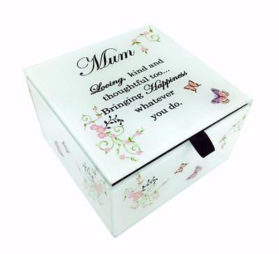 Mum Glass Trinket Box Gift With Sentiments and Butterflies Boxed Christmas Gift