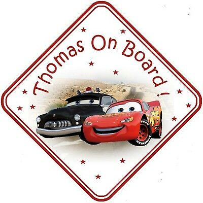 Cars  Personalised Car Window Sign - Baby On Board - Red Safety