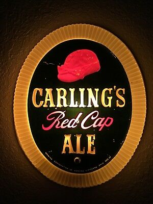 Vintage 1950's Carling's Red Cap Ale Lighted Beer Sign
