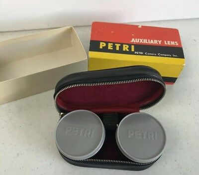 PETRI AUXILIARY CAMERA LENS -TELEPHOTO & WIDE-ANGLE For 7S 1:1.8 45mm WITH CASE