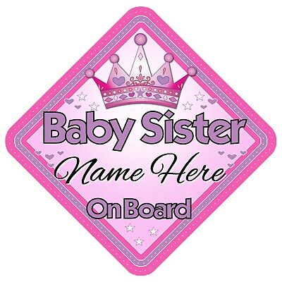 Baby Sister Personalised Car Window Sign - Baby On Board Child Kids Pink Safety