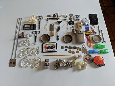 JUNK DRAWER LOT old vintage tokens ,pins,etc.