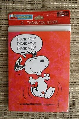 2 Pkgs Vtg. Peanuts SNOOPY CHRISTMAS THANK YOU NOTES ~ 20 Cards ~ Hallmark