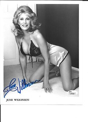 June Wilkinson SEXY signed / autographed 8x10 BW glossy photo JSA authenticated