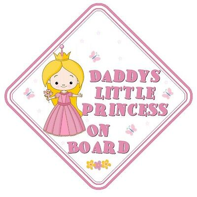 Daddy's Little Princess On Board Car Window Sign Non Personalised - Pink Safety
