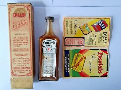 Vintage DILL'S BALM Bottle, Box & (2) Advertising Sheets for Other Dill Products