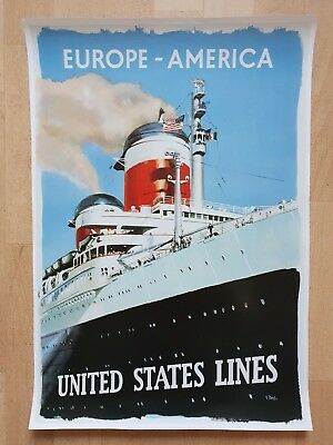 Poster Europe - America - United States Line