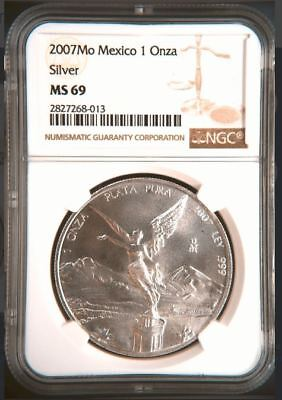 2007 Mo 1 Oz NGC MS69 SILVER onza  Mexico Libertad - Low Mintage- Top Pop