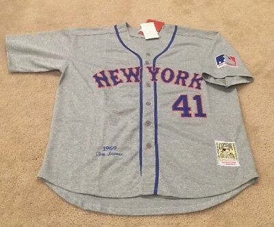huge selection of 6d7be 1163b TOM SEAVER NEW York Mets Retro Throwback Jersey NWT Mens XL 1969 Road Gray  RARE!