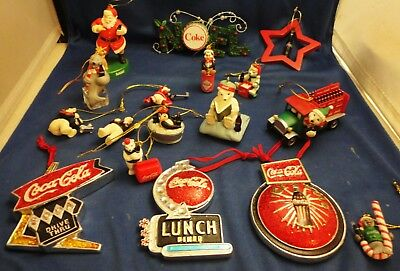 17 Coca Cola Ornaments LOT 3 Retro Diner Signs Polar Bears Truck Santa Pit Crew