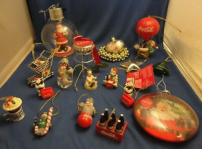 14 Coca Cola Ornaments LOT Santa Polar Bears Seals Cart Stool Hot Air Balloon ++
