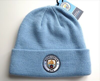MANCHESTER CITY Official FOOTBALL SKY CUFF BEANIE HAT Unisex Soccer New Tag