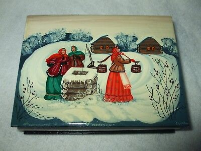 Beautiful Russian Hand Decorated Lacquer Trinket Box With Signature