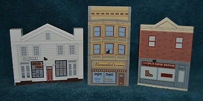 Set Of 3 1994 Cats Meow Elm Street Series Shoe Repair, Fishing & Stationery