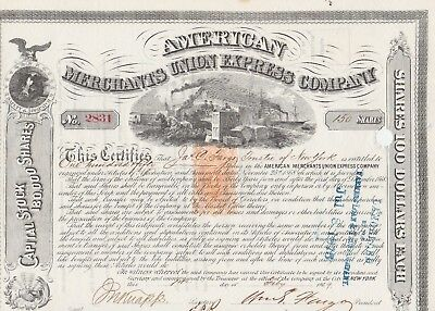 American Merchants Union Express Company Issued 1869 Certificate Signed Fargo