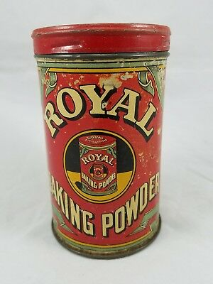 "ORIGINAL ROYAL BAKING POWDER TIN 12 oz New York, NY 4 3/4"" TALL 1938 COPYRIGHT"