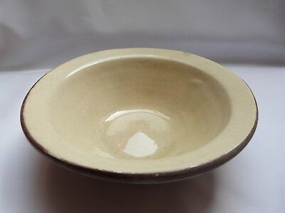 Antique victorian cream glazed terracotta small 8 inch dairy mixing bowl.