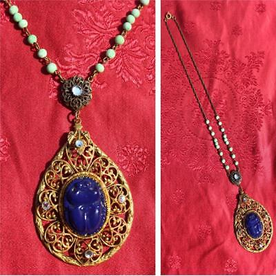VINTAGE 1920s ART DECO EGYPTIAN REVIVAL CZECH ART GLASS LAPIS SCARAB NECKLACE