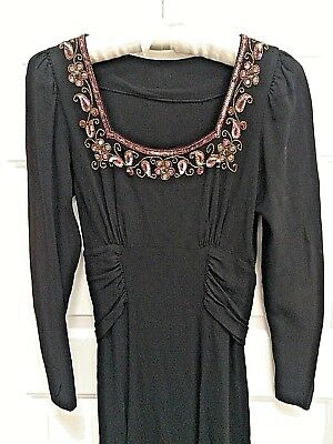 Beautiful Vintage 1940'S Rayon Crêpe Beaded Holiday Christmas Dress