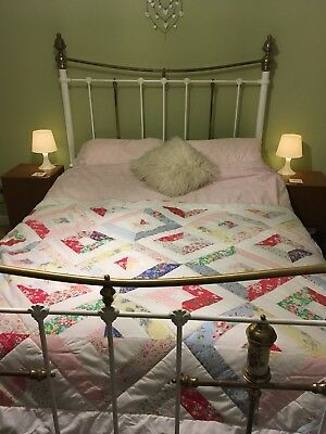 Beautiful Antique Victorian Brass & Iron & White King Sized Bed