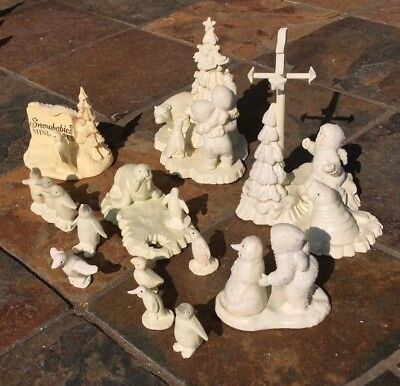 Lot Of 6 Pewter Snowbabies Including Group Of Penguins