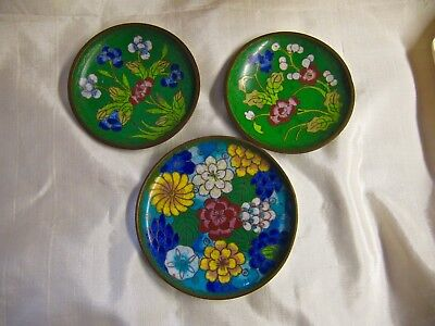 Vintage 3 Chinese Floral Dishes Cloisonne On Copper