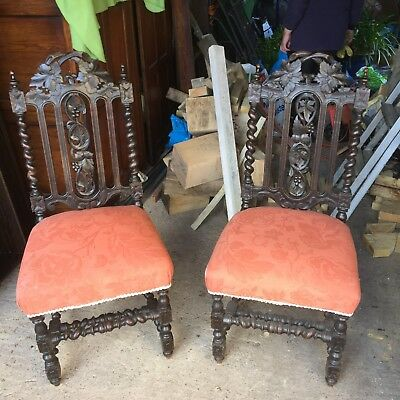 Antique french oak dining chairs barley twist