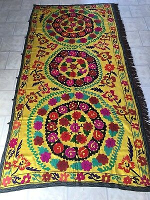 Old Uzbek Vintage Large Wall Decor Antique Hand Embroidered  Silk Suzani