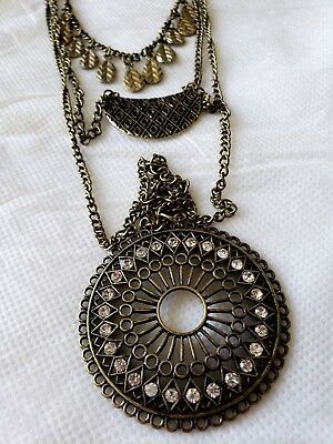 Antique Bronze Triple Strand LONG Medallion Rhinestone Accent Fashion Necklace