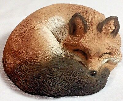 """NEW! Stone Critters Curled Up Sleeping Fox Figurine 4"""" Long SC-527 Sculpture UDC"""