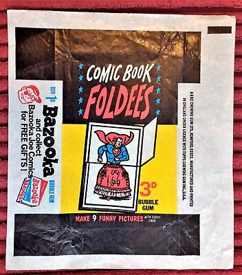 Comic Book Foldees wax trading card wrapper by Topps 1966 - UK only 3d variant