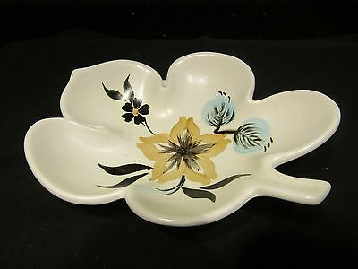 Edward Radford Pottery England Hand Painted Leaf Plate / Dish With Flowers - Vgc