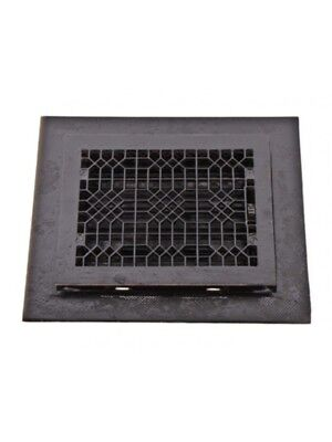 "C. 1890's Black Enameled Cast Iron ""indian Lattice"" Pattern Floor Grate With Sur"