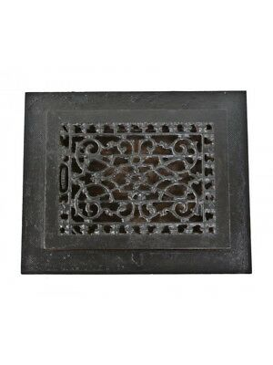19Th C Black Enameled Cast Iron Louvered Floor Register With Matching Surround