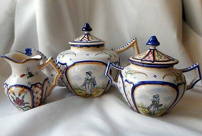 Quimper  Faience Tea Set - Teapot, Sugar, and Creamer -Unique Breton Women