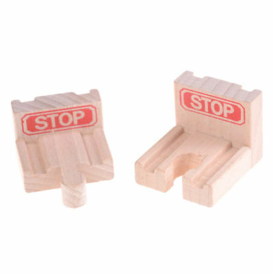 2pcs Wooden Railway Track Stop Fine Funny Great Gift Accessories Train Toy Wood