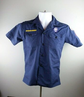 Official Boy Scouts Youth Medium Blue Patched Short Sleeve Uniform Shirt