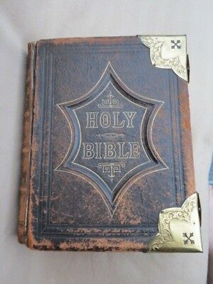 Books Large Antique C1900 Family Holy Bible Blank Family Pages Illustrated Antiquarian & Collectible