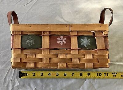 Decorative Woven Snowflake CHRISTMAS BASKET with Handles Red Green Winter Design