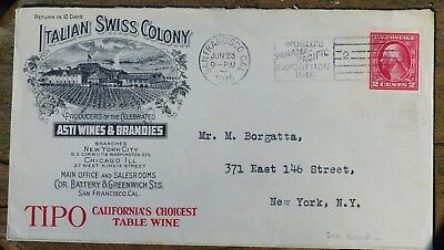 "Historic ENVELOPE, ""ITALIAN SWISS COLONY"", 1915 with stamp"