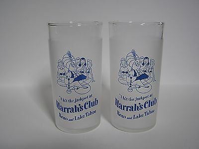 Set of 2 - Harrah's Club Casino Reno & Lake Tahoe Nevada Frosted Glasses