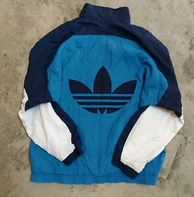 1275f818c52d Adidas Trefoil Windbreaker Track Jacket Size XL VTG 80s 90s Colorblock  Spellout