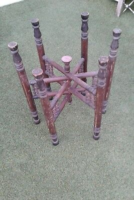Antique Moroccan Middle East Indian Folding Wooden Coffee Table Base