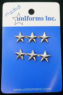 """General/Chief of Police 3 Stars in Silver 1 3/4"""" Wide.  FREE Shipping!"""