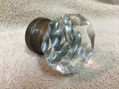 Antique/Vintage Very Nice Multi Faceted Clear Glass Door Knob Doorknob 2 1/4""